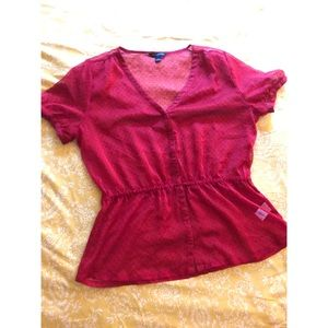 Sheer red Banana Republic blouse